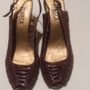 Rich brown leather braided woven wedge by Tribeca